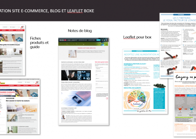 animation site e-commerce, blog, leaflet boxe