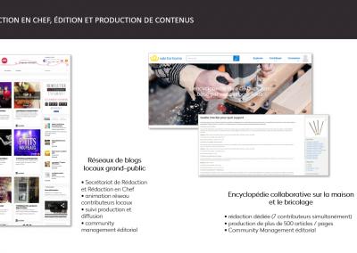 rédaction en chef, édition et production de contenus